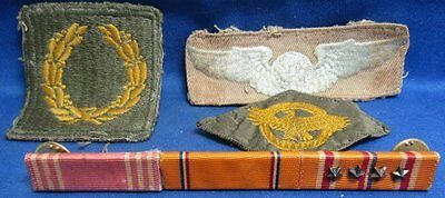 WWII Pacific Campaign Ribbon Bar & Army Air Forces Wings Patches Lot Of 4