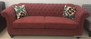 5200B FABRIC SOFA WITH BUTTONS AND 2 FREE PILLOWS- MANY COLORS