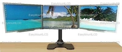 """EZM Deluxe Triple Monitor Mount Stand Free Standing - up to 3 28"""" (002-0020)"""
