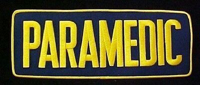 Paramedic 4 X 11 Emblem Patch Embroidered Navy Blue Gold Sew On Jacket Back