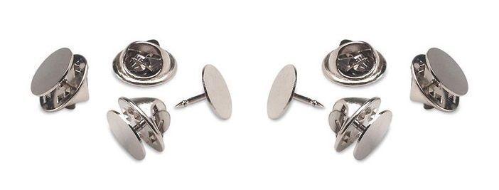 25 Economy Silver Brass TIE TACKS tacs Pins w/ backs 10mm round pad x 8mm post