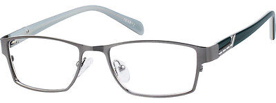 Zenni Optical Gray Stainless Steel Full Rim Eyeglass Frames Metal Plastic New
