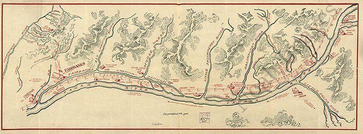 Map of Fairbanks AK region c1906 repro 31x12