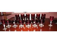 Luminarc red glasses and bowls