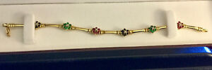 14K Gold bracelet with emeralds, sapphires, Rubies & Diamonds