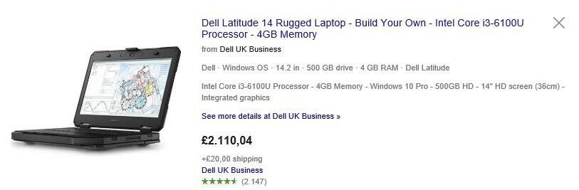 Laptop Dell Laude Rugged 14 5414 I5 500