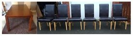 Large Dining Table (200cm) & 6 Brown Leather Chairs FREE DELIVERY (03438)