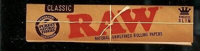 10 X PACKS RAW CLASSIC KING SIZE SLIM Natural Unrefined Cigarette Rolling Papers
