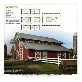 Equestrian Stable NE4856 - 48x56 - 9 Stalls - Green Terra Homes