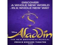 1 x Aladdin: The Musical stalls ticket, London. Tuesday 1 November 7.30pm