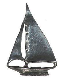 4 wholesale lead free pewter sailboat figurines F6035
