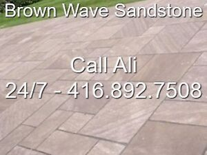 Brown Wave Patio Pavers Square Cut Outdoor Flagstone Paving