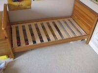 Mamas & Papas solid wood toddler bed with mattress 140 x 70cm