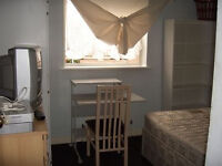 from next month big room double bed wardrobe and chest of drawers,shelving, TV FREE-VIEW, internet
