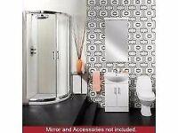 Full Bathroom Quadrant Shower Package. Vanity Unit, Tap and Toilet.