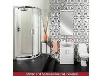 Complete Bathroom Quadrant Shower Enclosure Suite. Toilet, Tap and Vanity Unit.