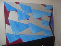 Painting old 1970's retro style hand painted art deco canvas paint picture can deliver ( Not Ikea )