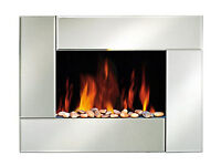 Wall mounted flame effect electric heater - with remote