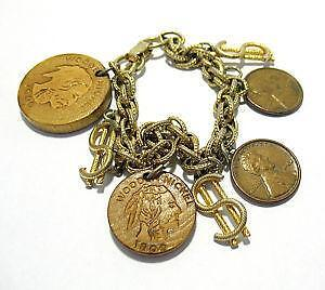Gold Bracelet Coin Charm Ebay