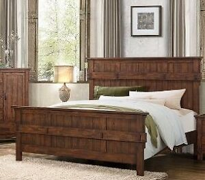 Queen rusic solid wood bed frame, 2 colors, Terrace collection