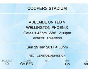2 tks for $30 Adelaide United v Wellington Phoenix Hindmarsh Charles Sturt Area Preview