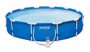 "12' x 30"" round metal frame Intex pool"