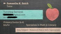 Certified Teacher Offering Tutoring Gr. 1-6