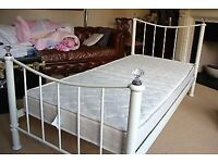 Shabby Chic White Metal Bed with Mattress