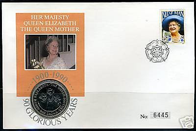 ISLE OF MAN QUEEN MOTHER 90TH BIRTH COIN FIRST DAY for sale  Shipping to India