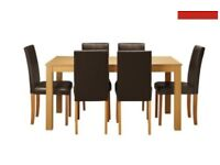 Oak Dining Table & 6 Black Chairs - good condition