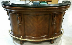 SOLID WOOD BAR WITH BRASS FOOT RAILING & MARBLE TOP