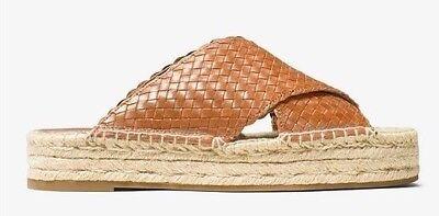 NIB $325 Michael Kors Collection Destin Woven-Leather Espadrille Slide Sandals 8