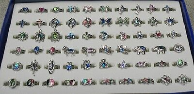 WHOLESALE LOT CLEARANCE-50 loose Paua Shell Adjustable Rings-NEW -refill rings