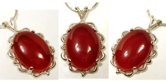 18th Century Antique Cabochon 22½ct French Carnelian Gem Sterling Silver Pendant