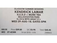 4 x Kendrick Lamar and NERD Glasgow Summer Sessions Bellahouston Park tickets