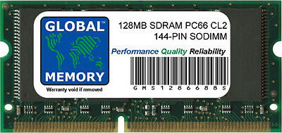 128mb Pc66 Sdram Sodimm Memory (128MB PC66 66MHz 144-PIN SDRAM SODIMM MEMORY RAM FOR LAPTOPS/NOTEBOOKS )