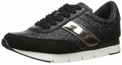 Calvin Klein Women's Tea Sneaker, Black, Size 8.5 9oO5
