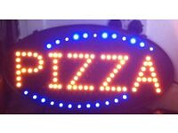Shop flashing led sign: PIZZA SR