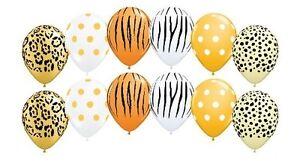 12 pc Wild Safari Inspired Latex Balloon Party Decoration Leopard Tiger Zebra