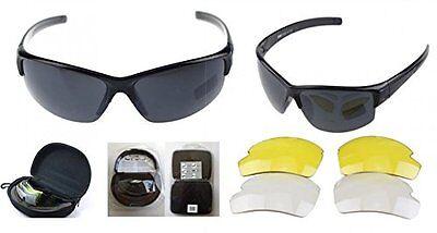Sportbrille Fahrradbrille Sonnenbrille 3 Wechselgläser grau orange klar mit Etui