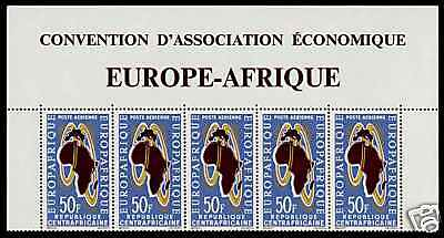 Central Africa C12 Strip MNH Map, Europafrica Issue