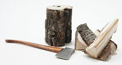 Casa de Muñecas Miniatura Hacha / Stump / Troncos - 1:12 Escala