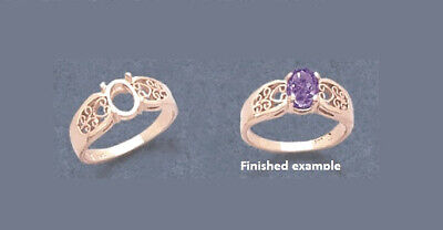 8x6mm Oval Ring Setting (8x6mm - 10x8mm Oval Filigree Pre-Notched Solid Sterling Silver Ring Settings )