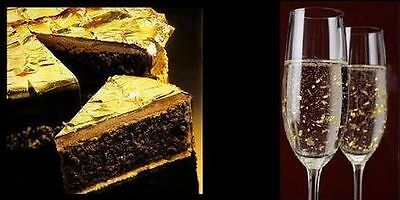 5x 100% Pure 24k Gold Leaf Edible 27mm Sheets Cake Baking 24ct - NOT on BASE!