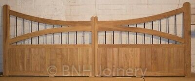 Iroko Double Curve Hardwood Driveway Gates (with iron bars)