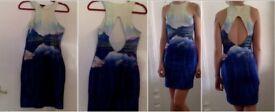 Body con , natural scene print - cutaway dress