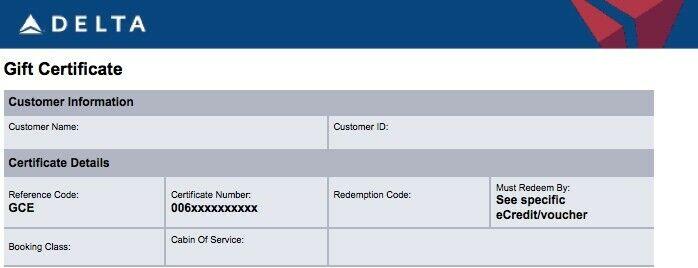 Delta Fully Transferable eCertificates (Value $800)
