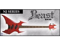BC Rich NJ Series BEAST 4 Strings Bass in rare Flaming Trans Red