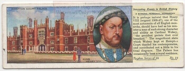 King Henry VIII Hampton Court Palace Britain History 1930s Ad Card
