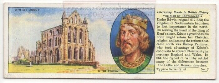 King Edwin and Synod Of Whitby Northumbria  Britain History 1930s  Ad Card